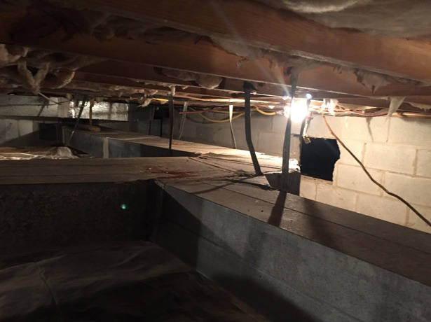 Duct work before Norris Mechanical fixed it
