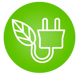 plug with a leaf on the end symbolizing green energy