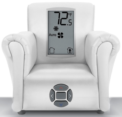 Thermostat in the shape of an airchair